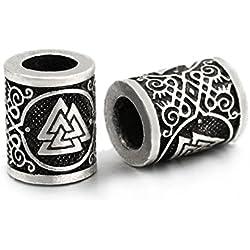 valknut rune bead 5 Piezas 1,7 cm de Largo Viking Valentín Medio Envejecido Pelo & Barba Barba Dreadlocks Joyas Hecho a Mano para Pulsera. Pagan Amuleto escandinavo Odin símbolo Norse.