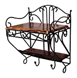 #5: Batra (Heavy Iron)Beautiful Wood & Wrought Iron Fancy Wall Bracket for Set Top Box etc