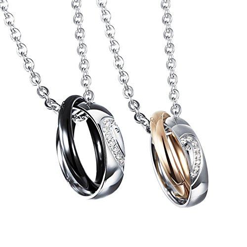 Jewow Bijoux Paire Acier Inoxydable Demi Coeur Collier Pour Couple Amoureux Cadeau