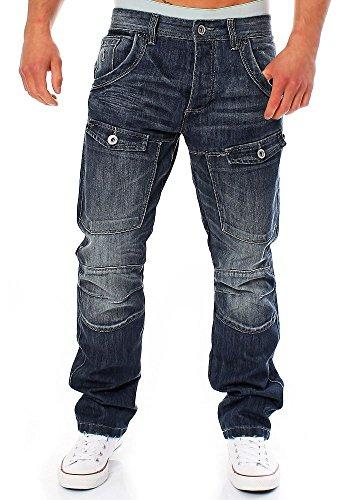 CrossHatch Homme New Control Straight Fit Jeans, Bleu Délavé Foncé
