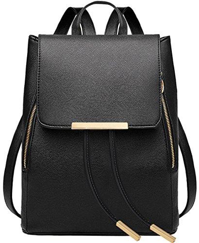 women-girls-ladies-backpack-fashion-shoulder-bag-rucksack-pu-leather-travel-bag-black