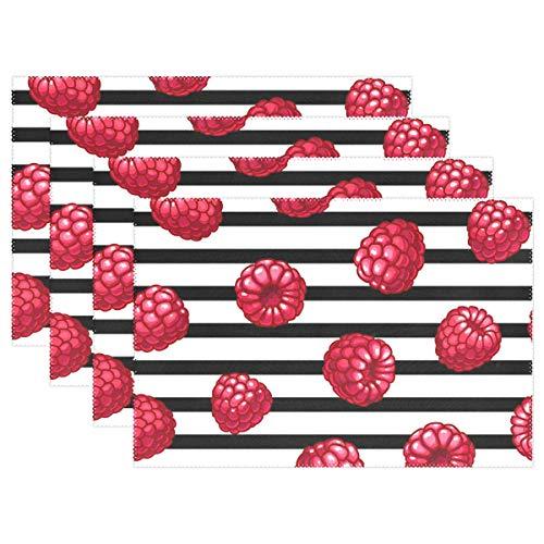 Jereee Red Raspberry Stripe Set von 1 Platzdeckchen hitzebeständig Tischmatte waschbar schmutzabweisend Anti-Rutsch-Polyester Tischsets für Küche Esszimmer Dekoration, Vinyl, 4er-Set