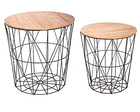 Table Basse Metal - Lot de 2 tables filaires en bois