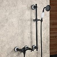 Hiendure® Bronce aceitado Montaje en pared Grifo para bañera Grifo de la ducha Válvula mezcladora Con ducha de mano de barra sólida