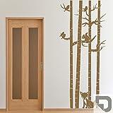 DESIGNSCAPE® Wandtattoo Baumstämme mit Tieren | Birke mit Eichhörnchen Vögel Fuchs 52 x 120 cm (Breite x Höhe) grau DW804044-S-F6