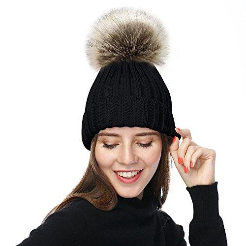 JULY SHEEP Sombrero de Invierno para Mujer de Lana con pompón Negro 01  Talla única 3dfc05e9a9b