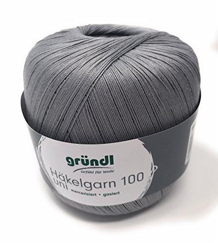 Gründl Häkelgarn 100, Filethäkelgarn, NEUE Farbe Grau Fb. 137, 100 Gramm Knäuel,