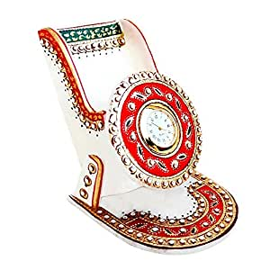 Buy Handicrafts Paradise Marble Mobile Holder And Clock Online At