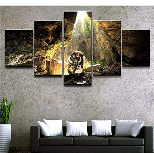 boboyz Leinwanddrucke Canvas Painting Modern Art Live Wall Decoration Frames Modular Pictures Landscape Oil Painting 5 Panels Animal Tiger Cave -