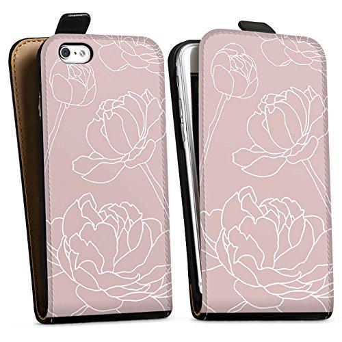 Apple iPhone X Silikon Hülle Case Schutzhülle Blumen Motiv Flower Downflip Tasche schwarz