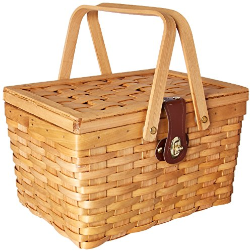 vintiquewise (TM) qi003081Gingham gefüttert Picknick-Korb mit klappbare Tragegriffe