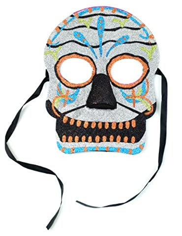mask-it Tag der Toten Maske, Assorted with Black Cloth Tie, 6.25