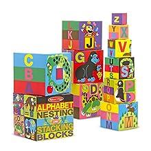 Melissa & Doug English Alphabet Nesting and Stacking Blocks (LC) | Developmental Toy | Blocks & Building | 2+ | Gift for Boy or Girl