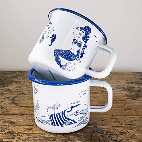 Emaille-Tassen Set - Metallbecher mit Seejungfrau u. Wal - Lustige Outdoor, Camping-Becher in blau weiss - 100% Handmade