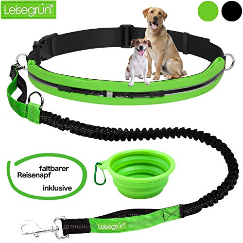 Joggingleine mit Bauchgurt. Verstellbare Freihandleine mit Sport Laufgürtel. Jogging Hundeleine für große und mittelgroße Hunde. Elastische, reflektierende Laufleine im Set (grün)