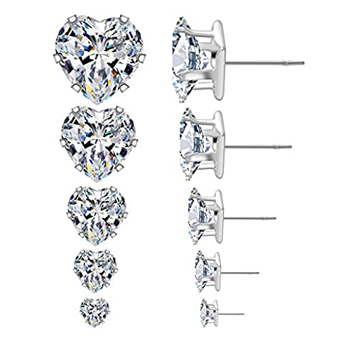 Women's Heart Clear Cubic Zirconia Diamond Rhinestone Earring (5Pairs) size 4mm 5mm 6mm 7mm 8mm