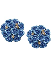 Sanak Creations Fashion Jewellery Blue Gold Plated Rose Shape Party Wear Stud Earrings For Girls & Women