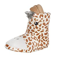 Kids Novelty Giraffe Slippers 3D Details Print Booties Plush Cosy UK Size 11/12