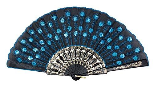 Umiwe(TM) Pfau Muster Stickerei Handfächer(Blau) Mit Umiwe Accessorie Sparschäler - Venezianische Muster