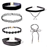 #9: Shining Diva Fashion Jewellery Party Wear Black Lace 6 pc Combo Stylish Chokers Necklace Set For Women and Girls