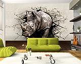 ShAH Fototapete Nashorn Wand Loch Tier Wandgemälde Eingang Schlafzimmer Wohnzimmer Tv Hintergrundbild Für Wände 3D 3D Tapete Hintergrundbild Wallpaper Wandmalerei Fresko Mural 200cmX100cm