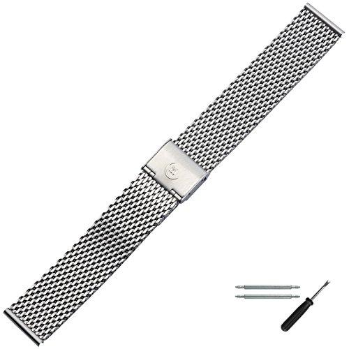 MARBURGER Uhrenarmband 18mm Edelstahl Silber - Mesh/Milanaise - Uhrband Set 84907180020
