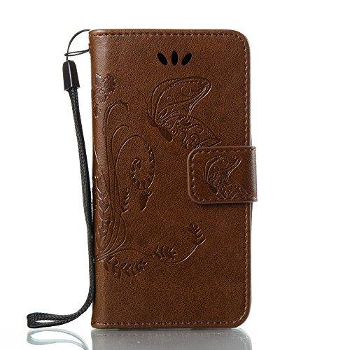 EKINHUI Case Cover Horizontale Folio Flip Stand Muster PU Leder Geldbörse Tasche Tasche mit geprägten Blumen & Lanyard & Card Slots für Samsung Galaxy J1 Mini Prime ( Color : Blue ) Coffee