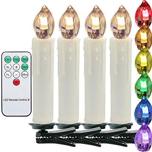 VINGO 40 Set LED Weihnachtskerzen Kerzenlichter Flammenlose Mit Kabellose Fernbedienung Kerzen RGB und 3 verscheidene Lichtmodifikationen Christbaumschmuck Lichterkette für Party Hochzeit Geburtstags