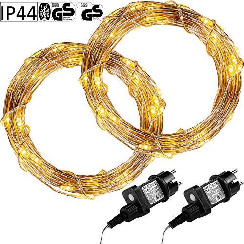 VOLTRONIC 50 100 200 LED Lichterdraht Lichterkette, GS geprüft, mit Timer, für innen und außen, IP44, erhältlich in: warmweiß kaltweiß bunt warmweiß+kaltweiß, Outdoor