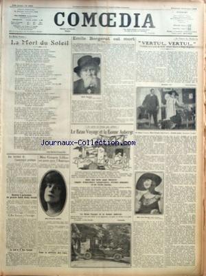 COMOEDIA [No 3953] du 14/10/1923 - LES BEAUX POEMES-LA MORT DU SOLEIL JULES BARBEY D'AUREVILLY - LES RECETTES DE L'ASSISTANCE PUBLIQUE - REMISE A QUINZAINE DU PROCES EDITH KELLY GOULD - L'ART FRANCAIS A L'ETRANGER - LA SANTE DE M. BLAIR FAIRCHILD - MME GEORGETTE LEBLANC EST PARTIE POUR L'AMERIQUE - POUR LA DEFENSE DES RUES - EMILE BERGERAT EST MORT - CE QU'ON NE TROUVE PAS AILLEURS-LE BEAU VOYAGE ET LA BONNE AUBERGE-DANS UNE BELLE PAGE ILLUSTREE EMPLIE D'ANECDOTES SAVOUREUSES, D'ECHOS PIQUANTS