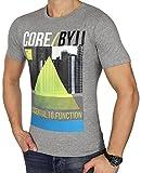 JACK & JONES Herren T-Shirt jcoEMILIO jcoVISION jcoWHELK Print Rundhals Mehrfarbig Slim Fit und Oversize (L, Grau (Light Grey Melange Fit:Slim jcoDAVE))