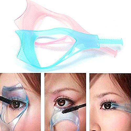 2 pièces en plastique 3 en 1 Maquillage Eye Lash Mascara applicateur garde outil cils supérieur inférieur Guide Helper avec peigne pour cils