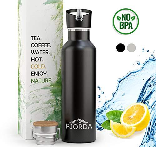 Fjorda Thermosflasche aus rostfreiem Edelstahl 750 ml - Bambusdeckel + EXTRA Aufsatz für Sport und Outdoor - Trinkflasche BPA frei und doppelwandig (Schwarz)