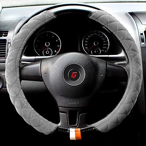 GAMPRO Housse de Volant de Voiture en Microfibre Couleur : Noir et Rouge - Housse de Volant en Peluche - Chaude, Confortable, antidérapante, Durable, sans Odeur de diamètre de 35,6 cm à 38,1 cm.