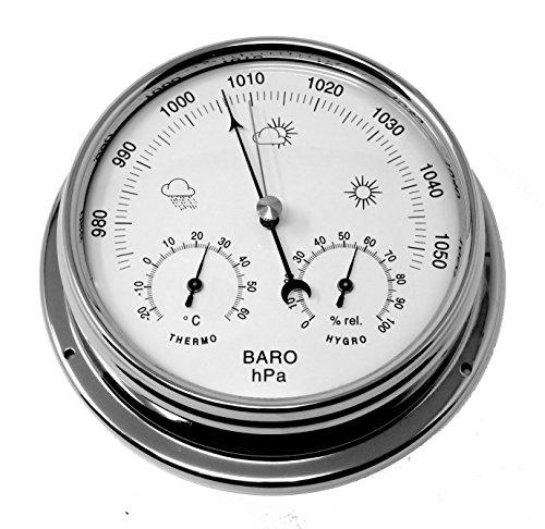 tabic chrom Barometer mit eingebautem Hygrometer und Thermometer, schwere messing Fall (1/2kg...