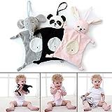 Vaycally Baby, Das Plüsch-Spielzeug-Panda-Puppen-Multifunktionsschlaf-Kind-Mund-Tuch Tröstet (Schwarz)