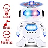Dancing Robot, FUNTOK Space Dancing Electric 360 Degree Stunt Rotating Dynamic Sound And Light Intelligent Robot With Flash Lights And Music For Kids Toddler