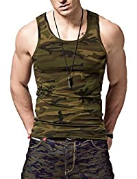 LionRoar Men's Sleeveless Army Camouflage Gym Vests for Men 100% Cotton