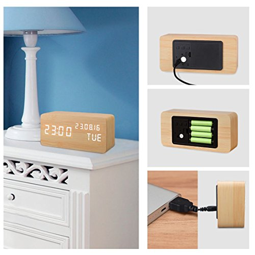 confronta il prezzo Sveglia Digitale Legno LED Elettrica da Comodino Tavolo Sensore del Suono per l'attivazione con Temperatura Orologio Sveglie Digitali Wooden Alarm Clock Clocks Per Bambini (Bambù) miglior prezzo