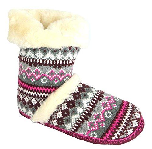 Dunlop Brianna Donna Nordic Stivali Pantofole Pink