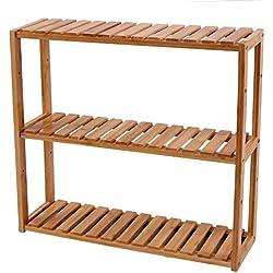 Songmics - Estantería de bambú para baño Librería Organizador Estantería de pared 60 x 15 x 54 cm BCB13Y