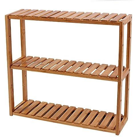 Songmics 3 Tier Bamboo Wall Storage Bathroom Shelves Kitchen Shelf Rack 60 x 15 x 54 cm BCB13Y