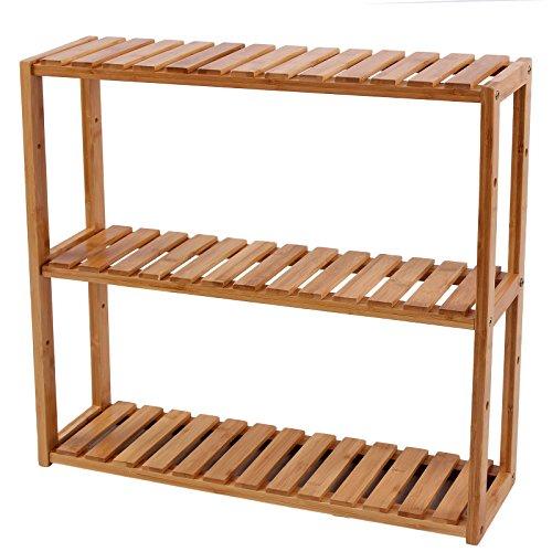 Songmics - Estantería de bambú para baño Librería Organizador Estantería de pared 60 x 15 x 54 cm