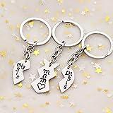 3pcs Mother Daughter Key Chain Mom Big Little Sister Love Broken Heart Pendant Gift for Family