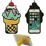 3D Caramelo Helado Apariencia Suave Silicona Gel iPhone SE Funda Protectora – Naranja, Case Resistente para Apple iPhone 5 5S 5C + Silicona Poseedor
