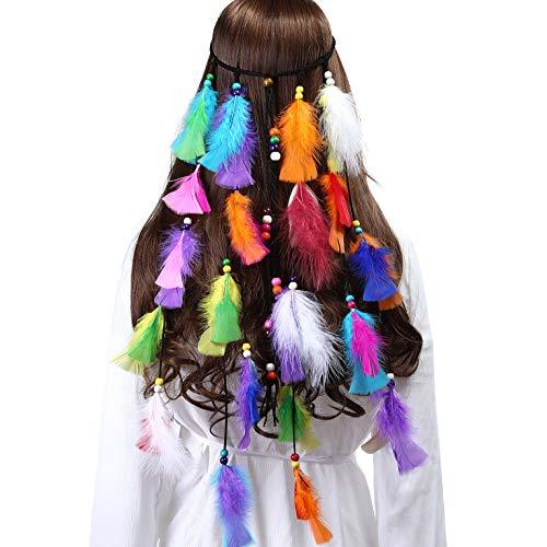 Boho Indianer Stirnband Feder Stirnbänder für Abendkleider Halloween Karneval (Mehrfarbig-1) ()