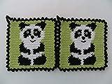 Storchenlädchen 1 Paar Topflappen Panda, gehäkelt Handarbeit Tier Tiere