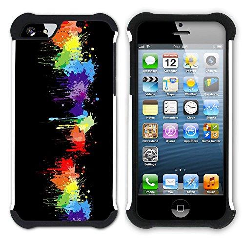 Graphic4You Regenbogen Farben Hart + Weiche Kratzfeste Hülle Case Schale Tasche Schutzhülle für Apple iPhone SE / 5 / 5S Design #34