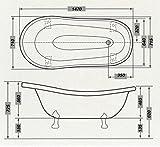Freistehende Luxus Badewanne Jugendstil Roma Weiß/Altgold 1470mm – Barock Badezimmer – Retro Antik Badewanne - 4