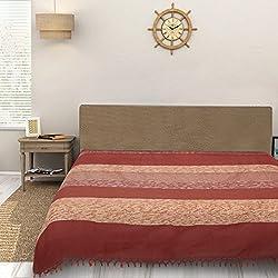 Sleep Sure Yarn Dyed 100% Cotton King Size Handloom Maroon Color Bed Spread